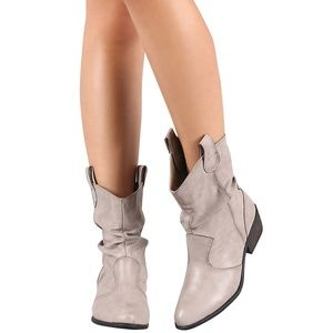 BAMBOO Shoes - Western Cowboy Slouchy Shaft Ankle Boots